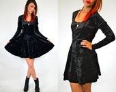 black velvet DARK DOLLY mini goth DELUXE grunge dress, extra small-small