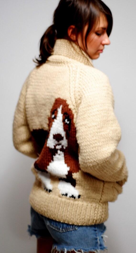 basset hound chunky knit sweater