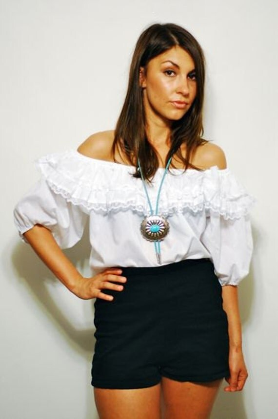 Reduced White Gypsy Off The Shoulder Peasant Top Xs-m