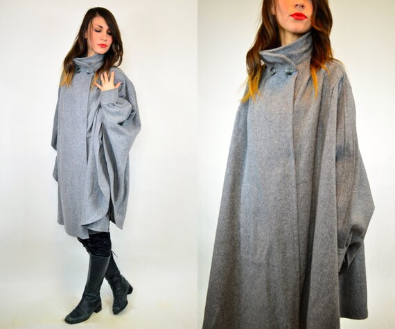 avant garde gray cocoon batwing cape coat, xs-medium