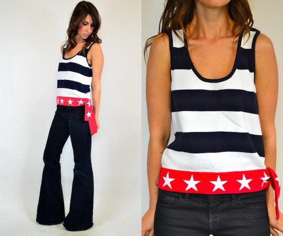 patriotic stars 'n' stripes american flag USA tank top, xs-medium