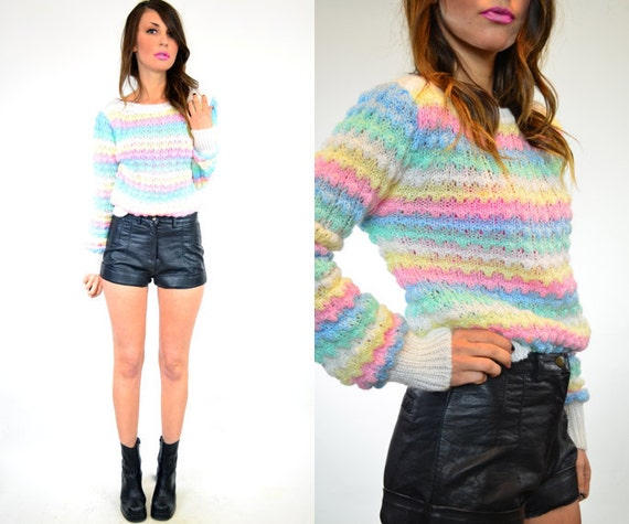 pastel rainbow bobble knit sweater top, xsmall-medium
