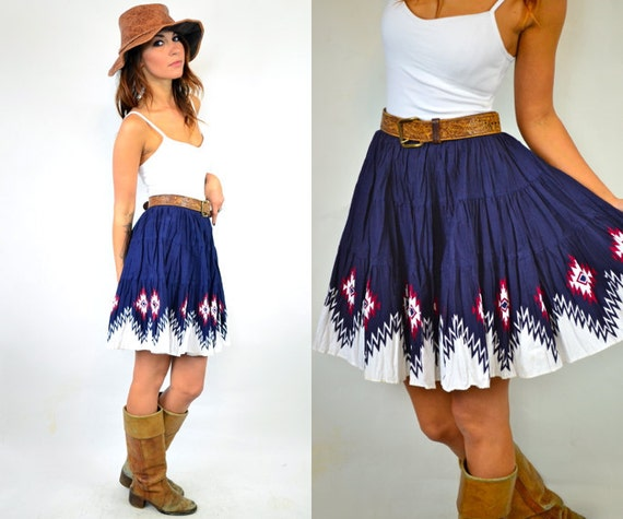 sassy NAVAJO printed PLEATED high waisted mini SKIRT, extra small-small