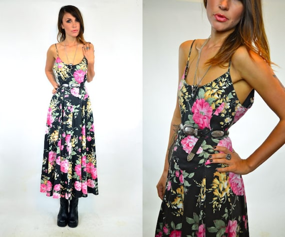 reserved -- BEST BUDS faded floral GRUNGE maxi spaghetti strap dress, xsmall-medium