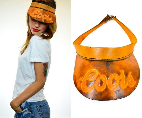 embossed COORS beer LEATHER unisex VISOR