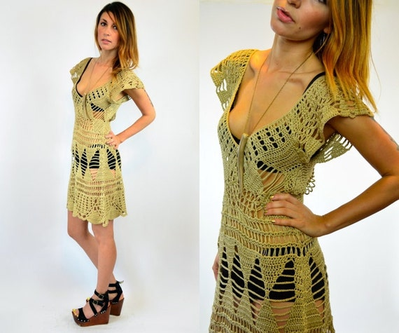 scalloped CROCHET cutout festival BOHO hippie knit DRESS, extra small - medium