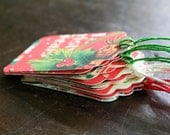Christmas gift tags, set of 12, vintage holiday designs in green and red