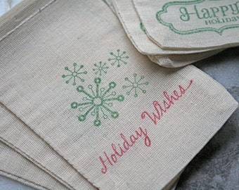 Holiday party favor bags, Christmas gift bags, muslin, 3x5. Set of 10.  Happy Holidays snowflakes in red and green.  Great gift card holder.
