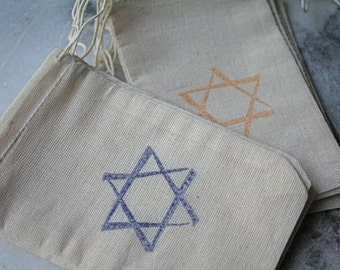 Hanukkah gift bags,  muslin favor bags, 3x5.  Set of 8.  Rustic shabby chic decoration or gift wrap for the holidays.