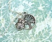 "WINTER OWL - 16"" Owl and Tree Charm Necklace"
