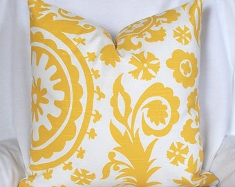 SALE - Suzani pillow cover Designer decorative throw pillow 16 x 16 Yellow-white-cotton slubbed