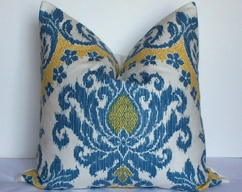 SALE-Waverly Decorative Ikat pillow cover - Designer throw pillow - blue sky - gold - bedazzle-euro sham-medallion-linen