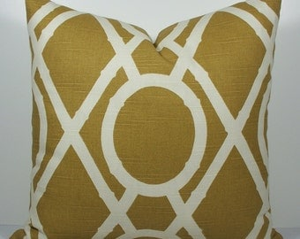 Designer Lattice trellis geometric amber gold caramel decorative throw pillow cover, linen look both sides front only square