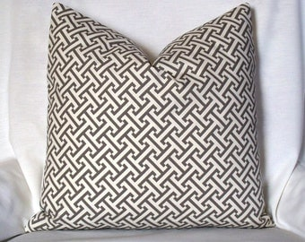 Gray Greek Key geometric Decorative pillow cover  throw pillow - grey off white trellis Waverly fretwork