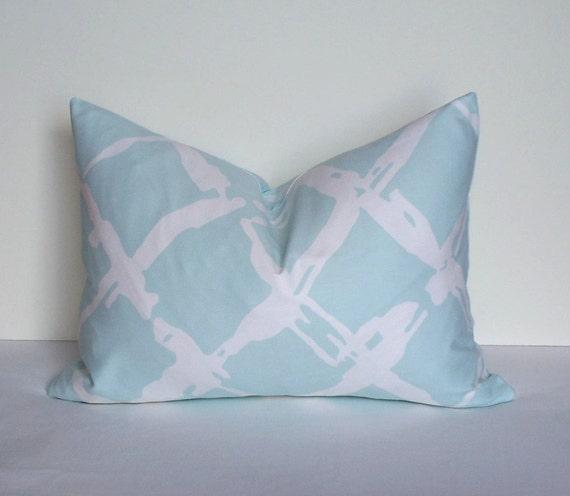 Blue Lattice Throw Pillow : Aqua Blue Lattice Trellis Pillow Cover Decorative by WilmaLong