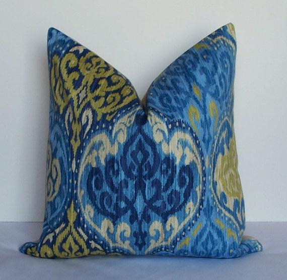 Waverly Decorative Throw Pillows : Waverly Ikat Blue pillow Decorative pillow cover by WilmaLong