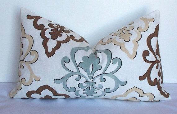 Decorative pillow cover Fleur de Lis  - blue - beige - brown - white Lumbar 12 x20 throw pillow