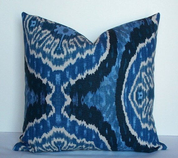 Ikat Throw Pillows Etsy : Decorative Ikat pillow cover 20x20 blue denim cream