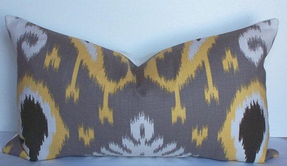 IKAT Lumbar Pillow Cover Large decorative Throw Pillow - Taupe gray - Yellow - Brown - Off white - sofa cushion