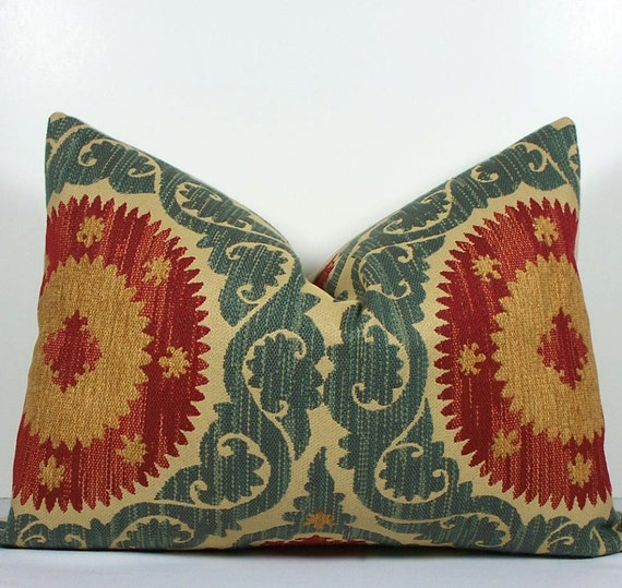 Decorative Suzani pillow cover - teal blue - red - gold - tan Chenille lumbar throw pillow - designer