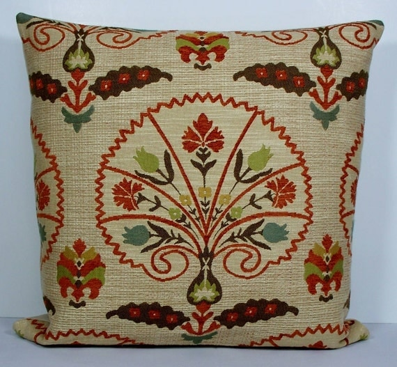 SALE - Decorative pillow cover - throw pillow - accent pillow - orange - green - blue- tan - brown-20X20