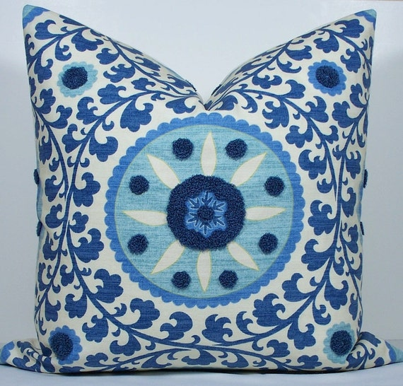 "Suzani Blue pillow cover - Decorative Pillow cover- throw pillow - accent pillow -20""x20"""