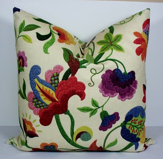 Designer pillow cover BOTH SIDES 22x22 Decorative throw pillow - natural - plum - red - blue - green - raspberry - floral cushion