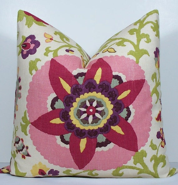 Suzani designer pillow cover BOTH SIDES Decorative 20x20 throw pillow - raspberry - pink - plum - green - yellow