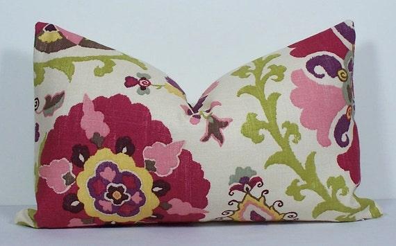 Decorative pillow cover - 12 x 20 - suzani - throw pillow - lumbar pillow - raspberry - pink - green - yellow - accent pillow