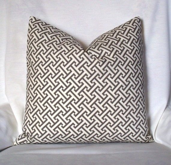 Gray Greek Key geometric Decorative pillow cover throw pillow