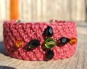 Burgundy Hemp Cuff Bracelet with Decorative Fall Colored Beads