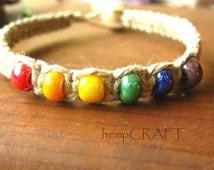 Natural Hemp Bracelet with Rainbow Beads