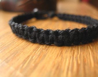 Black Hemp Bracelet, Hand Knotted Macrame