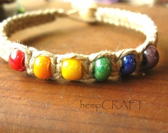 Natural Hemp Bracelet with Rainbow Beads
