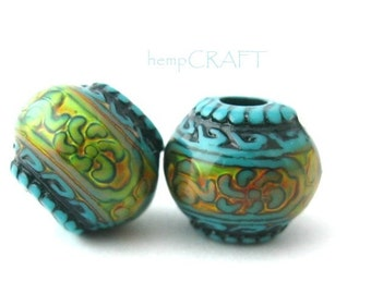 2pc Mood Bead, Blue Mirage Mystique Bohemian Color Changing Beads