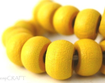 Wood Beads, Yellow Hemp Macrame Beads, Wood Crow Beads 6x10mm - Large Hole Beads - 50pc