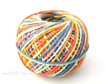 Hemp Twine, Rainbow, Colorful Bright 1mm Unwaxed Premium Hemp Yarn, 200ft
