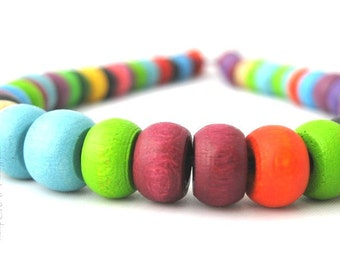Wood Beads, Multicolor Crow Beads 6x10mm, Hemp Macrame Beads, 50pc