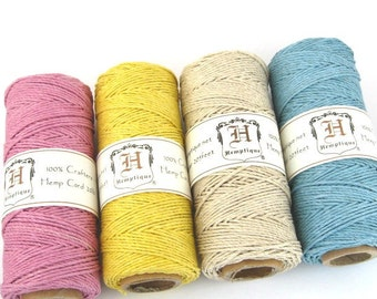 Hemp Twine, Spring Colors 4 Pack, 1mm Hemp Craft Cord