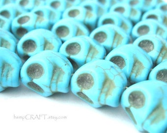 12pc Skull Beads, Turquoise Day of the Dead Magnesite Stone Beads - 8x12mm