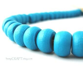 Turquoise Blue Wood Crow Macrame Beads, Pony Beads, 6x10mm - 50pc