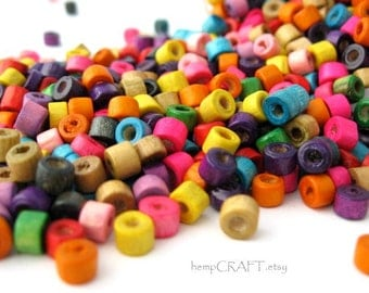 Wood Beads, Tube Dyed Multicolor, Small 3x4mm, 10g Lot (300pc)