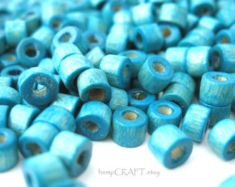 Wood Beads, Turquoise Dyed Tube, Small 3x4mm, 10g Lot