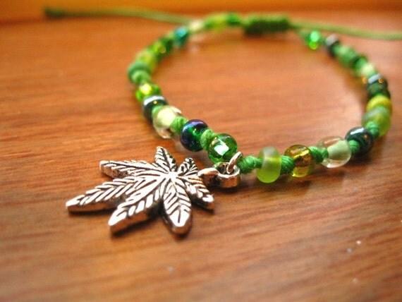 Cannabis Leaf Charm Bracelet - Green Beaded Hemp Support Bracelet