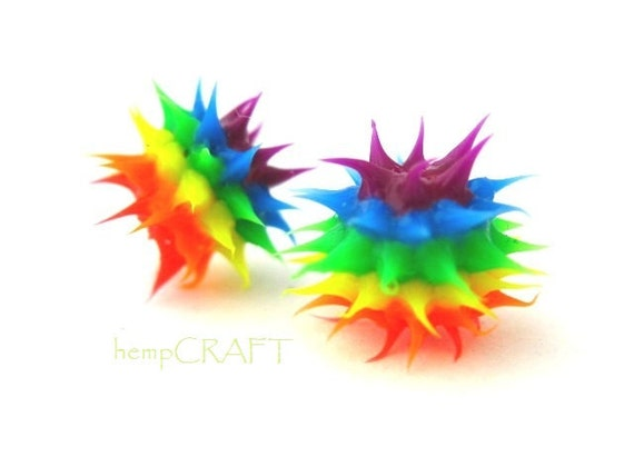 Rainbow Rubber Beads, Spiky, Colorful, Funky - 5pc - Small 6mm