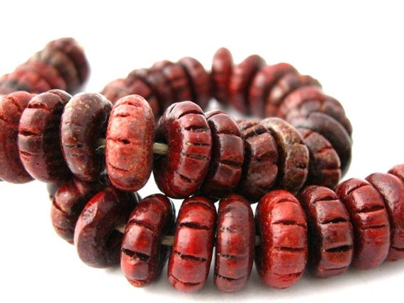 Carved Wood Beads, 100pc Mahogany Red Brown Disk Beads