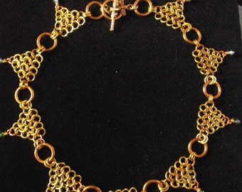 Chainmaille  Necklace with Crystals