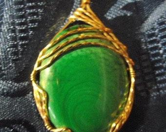 Wire wrapped Malachite pendant