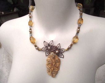 Citrine Dragonfly Pendant Necklace