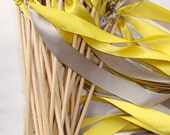 50 Wedding Wands Wood summer rustic outdoor ceremony Sticks Bells Streamers ocean farm chic Bubbles Pink Yellow Birthday Party Bride Groom